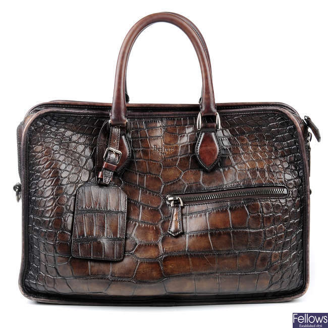 BERLUTI - a brown alligator Deux Jours briefcase.