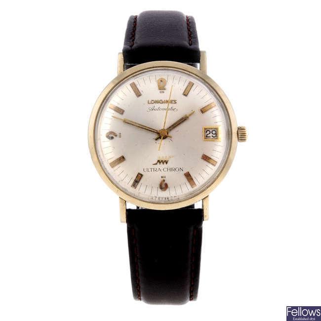 LONGINES - a gentleman's gold filled Ultra-Chron wrist watch.