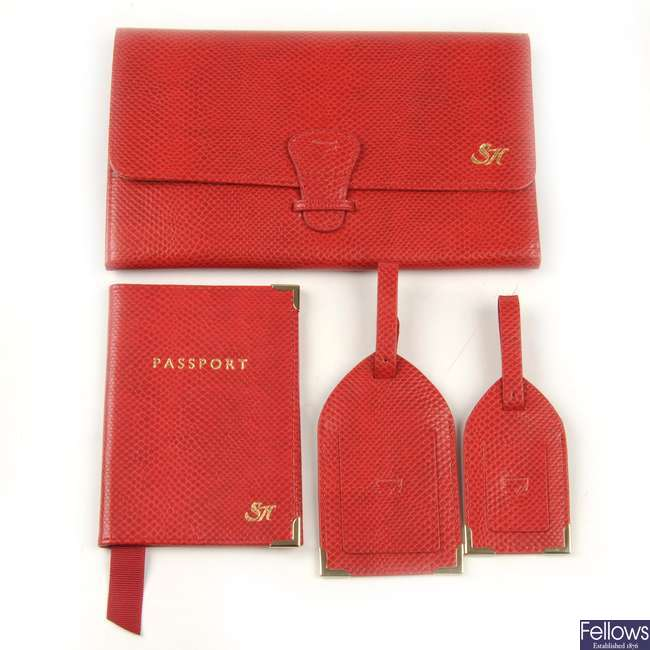 ASPINAL OF LONDON - a berry lizard leather Classic Travel Collection.