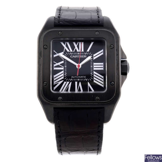 CARTIER - a PVD-treated stainless steel Santos 100 wrist watch.