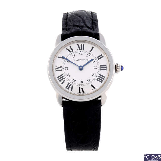 CARTIER - a stainless steel Ronde Solo wrist watch.