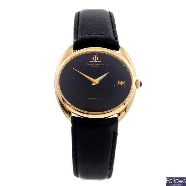 BAUME & MERCIER - a gentleman's 18ct yellow gold Baumatic wrist watch.