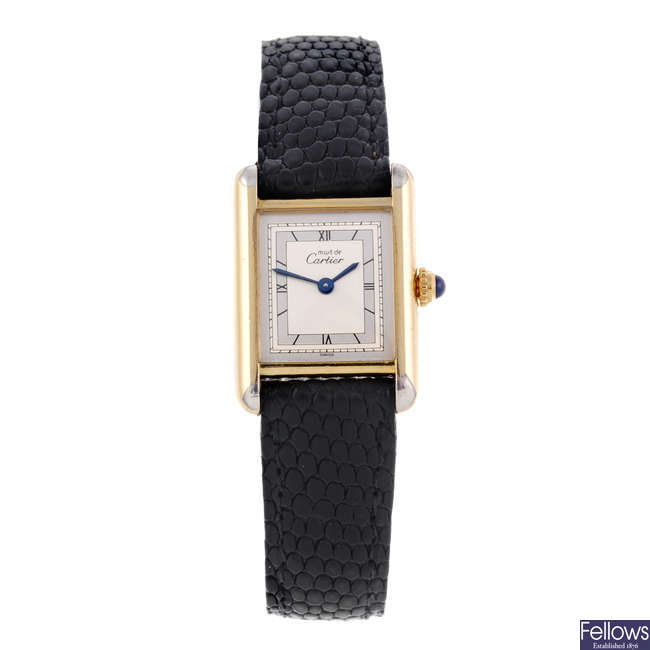 CARTIER - a gold plated silver Must De Cartier wrist watch.