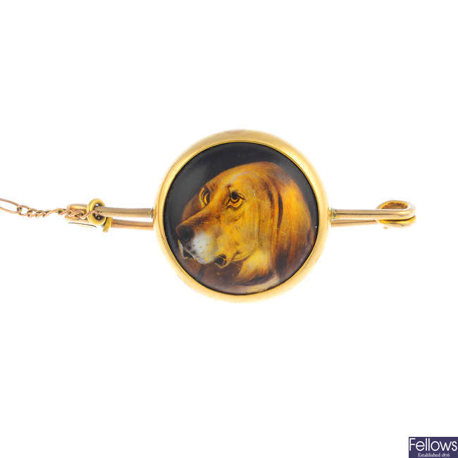 A mid Victorian gold portrait miniature brooch, by W B Ford.