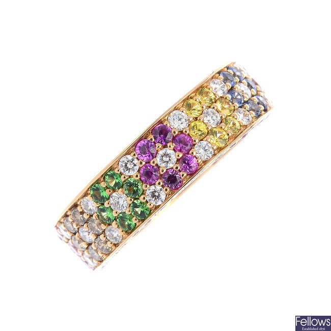 An 18ct gold diamond and gem-set dress ring.