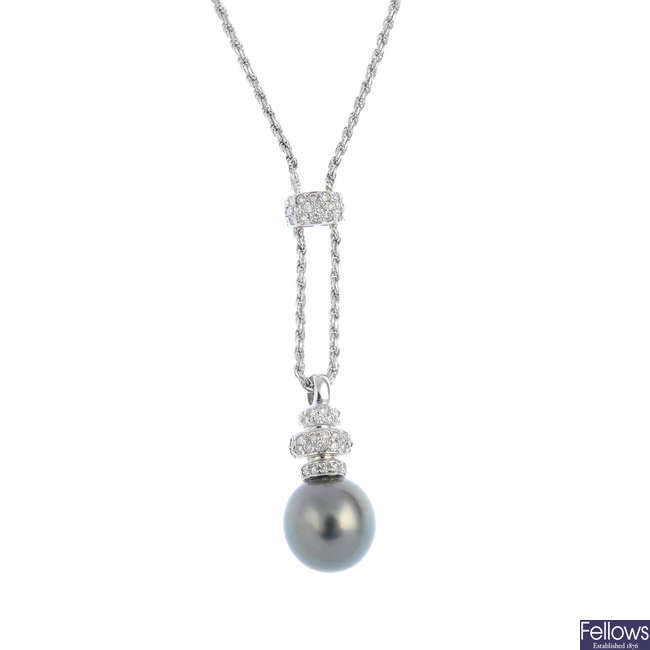 An 18ct gold cultured pearl and diamond necklace.