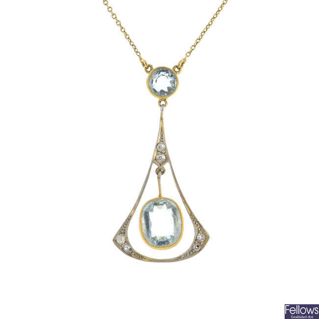An early 20th century gold aquamarine and diamond pendant, with chain.