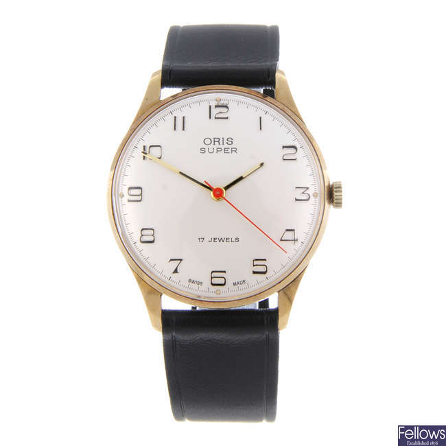 ORIS - a gentleman's gold plated Super wrist watch.