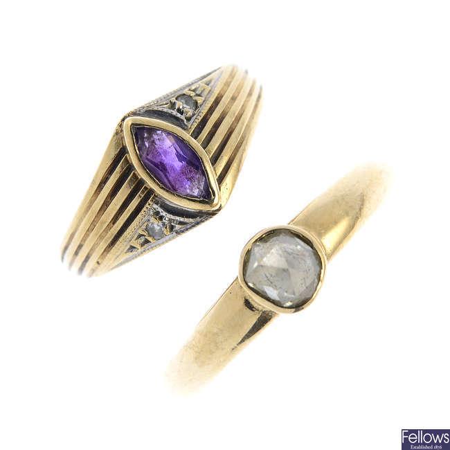 Two 9ct gold diamond gem-set rings.