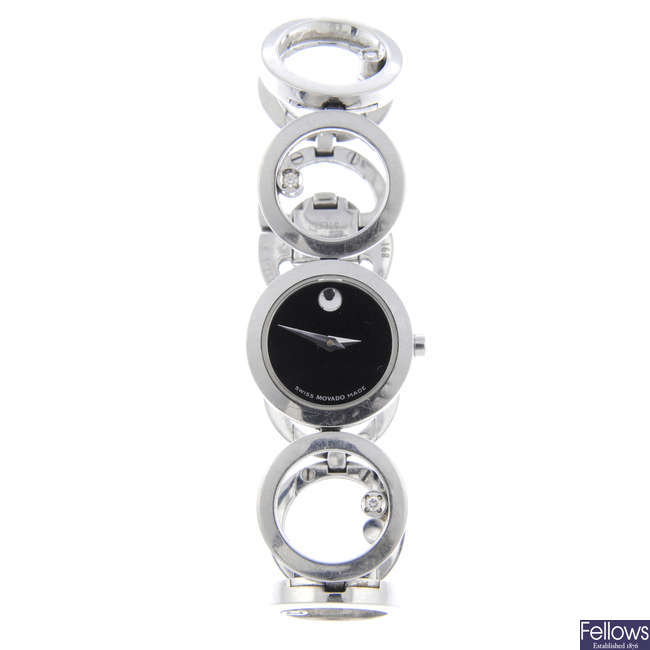 MOVADO - a lady's stainless steel Diamond Circles bracelet watch.
