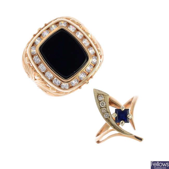 Three items of sapphire, diamond and gem-set jewellery.