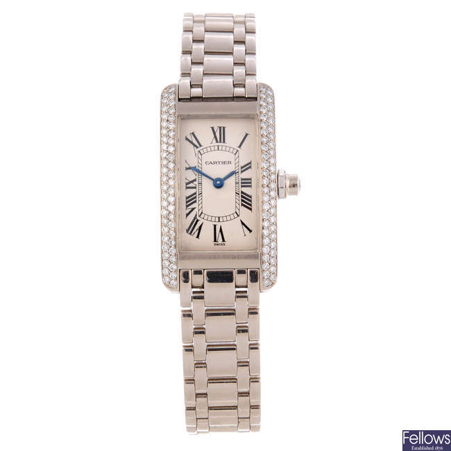 CARTIER - an 18ct white gold Tank Américaine bracelet watch.