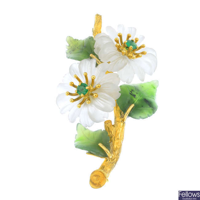 An emerald, chalcedony and nephrite jade floral brooch.