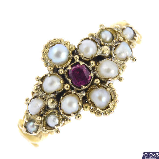 A mid Victorian gold ruby and split pearl ring.