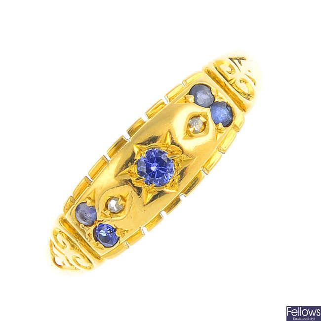 A mid 20th century 18ct gold diamond and gem-set dress ring.