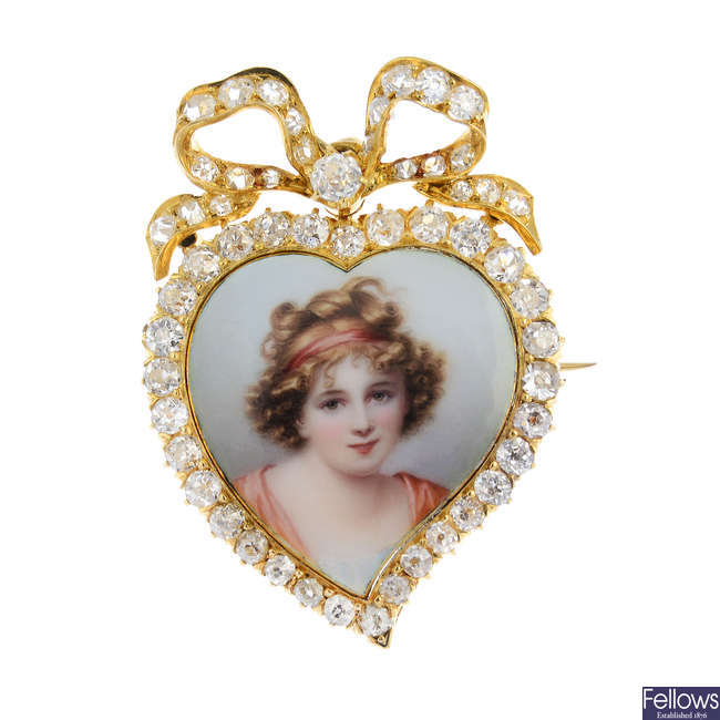 An Edwardian 18ct gold diamond portrait miniature brooch.
