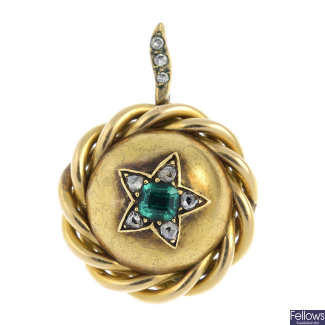 A mid Victorian gold, emerald and diamond pendant.