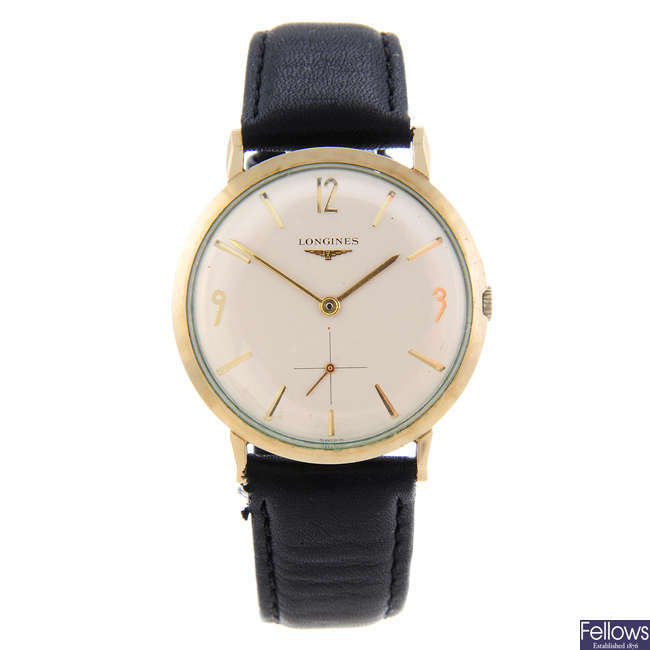 LONGINES - a gentleman's gold filled wrist watch with another Longines wrist watch.