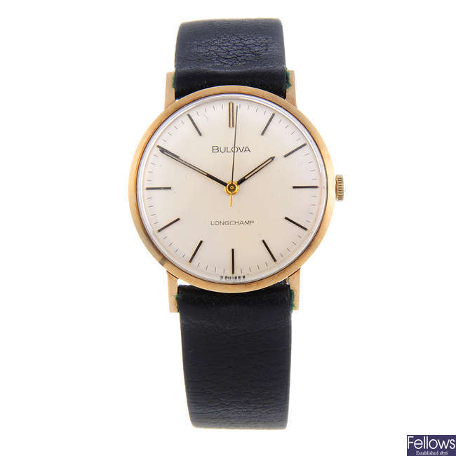 BULOVA  gentleman's 9ct yellow gold Longchamp wrist watch with another Bulova wrist watch.