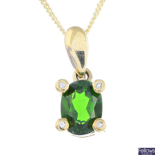 A 9ct gold tourmaline and gem-set pendant, with a 9ct gold chain.
