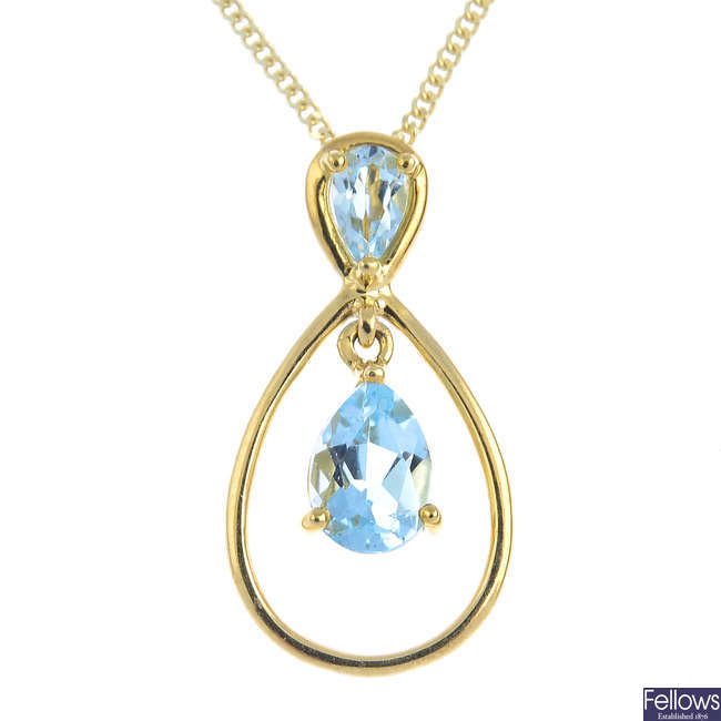 A 9ct gold topaz pendant, with 9ct gold chain.