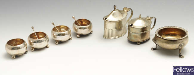 A set of four late Victorian silver open salts, etc.