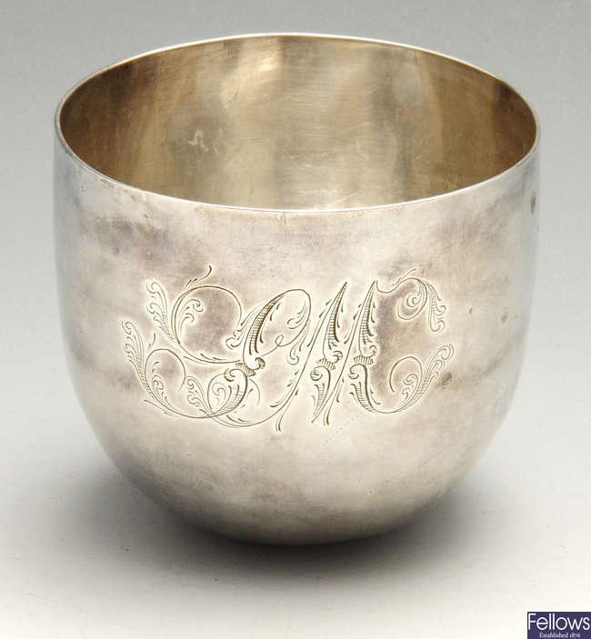 A George III silver tumbler cup.