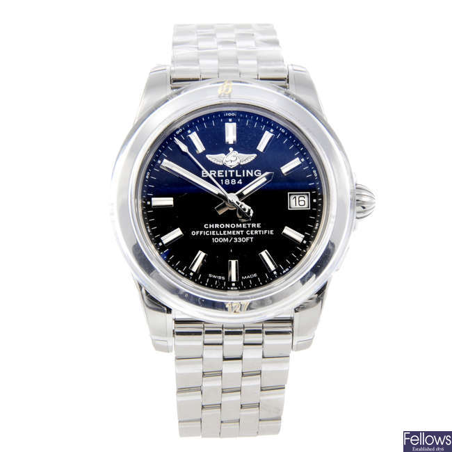 BREITLING - a lady's stainless steel Galactic bracelet watch.
