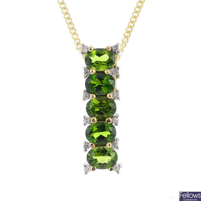 A 9ct gold diopside and diamond pendant, with 9ct gold chain.