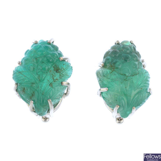 MAPPIN & WEBB - a pair of 18ct gold emerald earrings.
