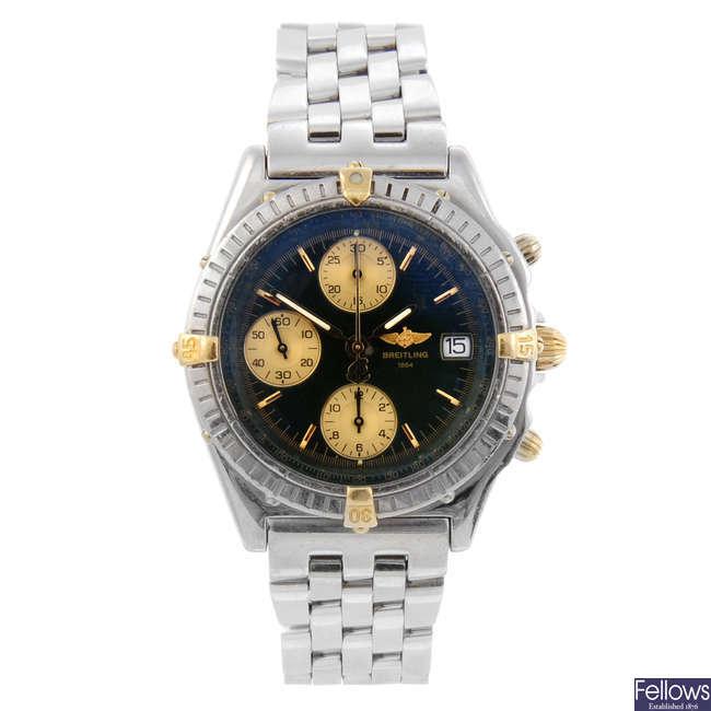 BREITLING - a gentleman's stainless steel Chronomat chronograph bracelet watch.