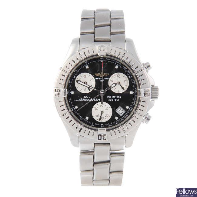 BREITLING - a gentleman's stainless steel Colt Ocean chronograph bracelet watch.