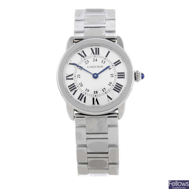 CARTIER - a stainless steel Ronde Solo bracelet watch.