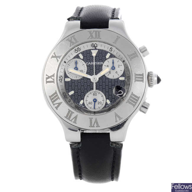 CARTIER - a stainless steel Chronoscaph 21 chronograph wrist watch.