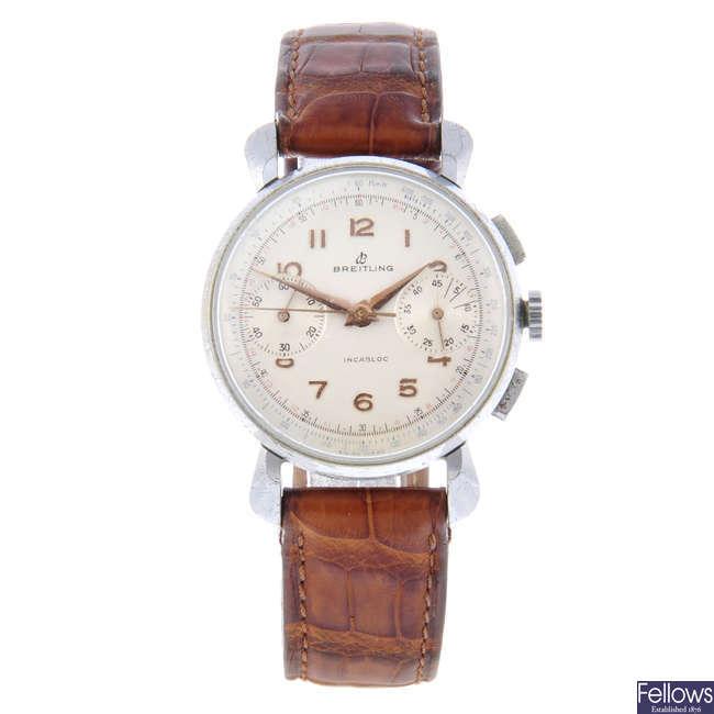 BREITLING - a gentleman's nickel plated chronograph wrist watch.