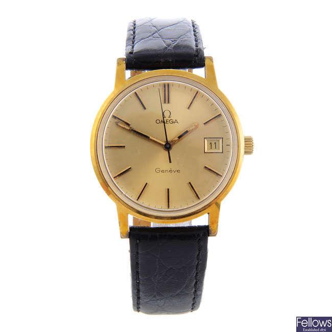 OMEGA - a gentleman's gold plated Genève wrist watch.