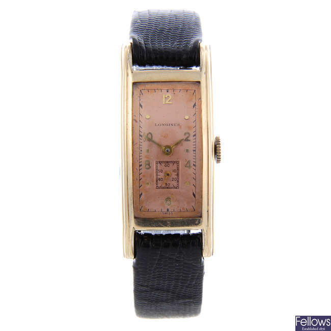 LONGINES - a gentleman's gold plated wrist watch.