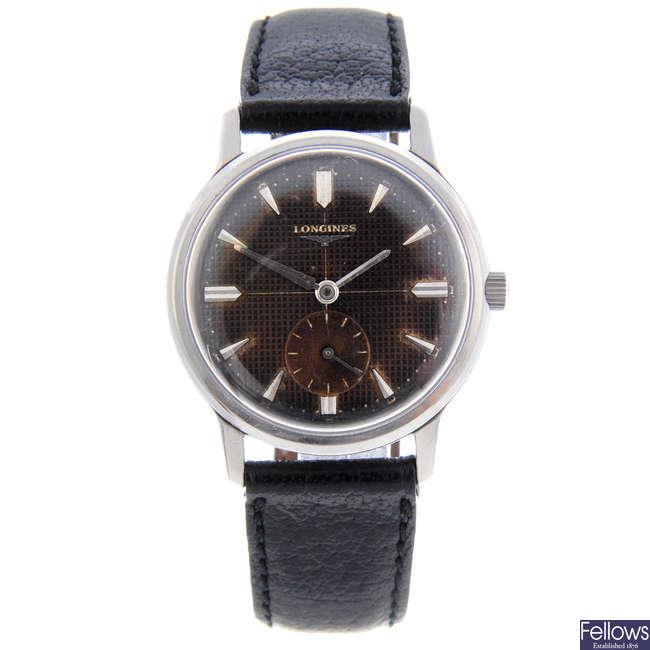 LONGINES - a gentleman's stainless steel wrist watch.
