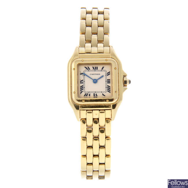 CARTIER - an 18ct yellow gold Panthere bracelet watch.
