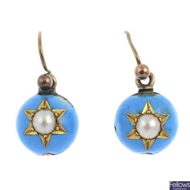A pair of mid Victorian enamel and split pearl earrings.