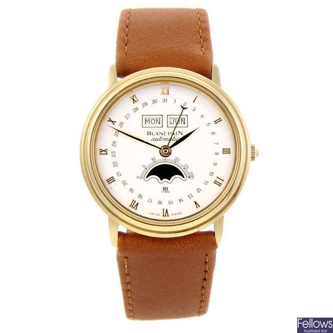 BLANCPAIN - a gentleman's 18ct yellow gold Villeret Moonphase wrist watch.