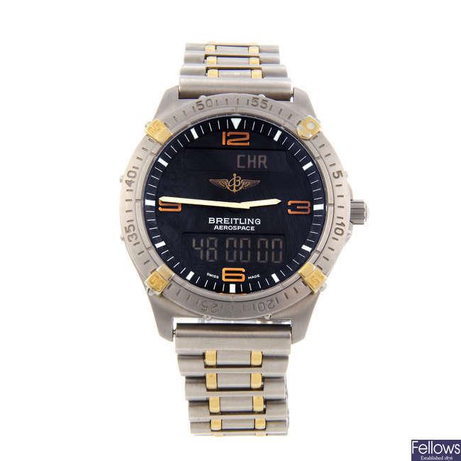 BREITLING - a gentleman's titanium Aerospace chronograph bracelet watch.