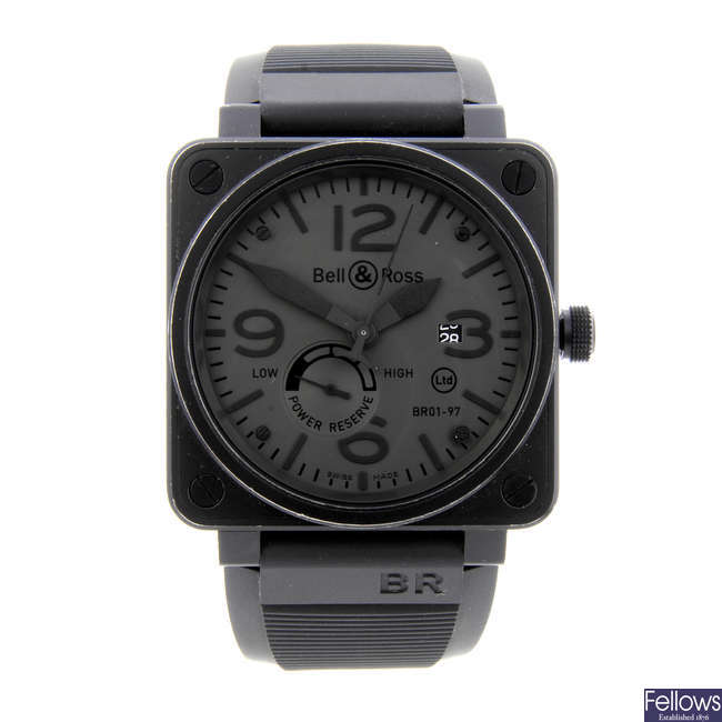 BELL & ROSS - a limited edition gentleman's PVD-treated stainless steel Commando wrist watch.