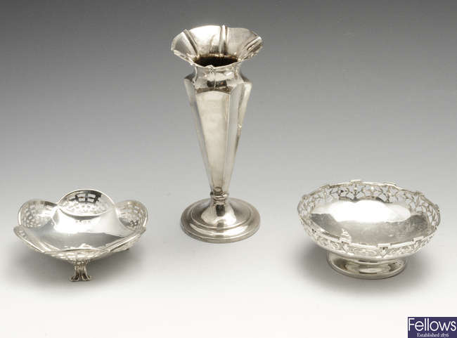 A late Victorian silver bud vase & two silver dishes. (3).