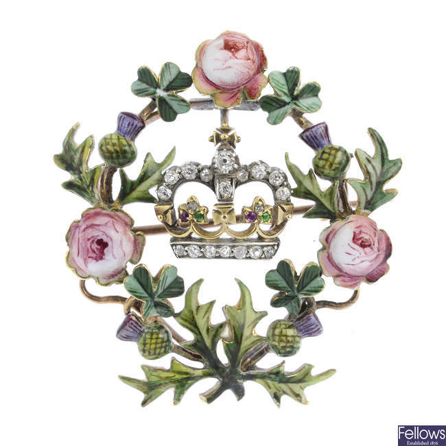 An early 20th century gold diamond, enamel and gem-set brooch, believed for the Coronation of Edward VII.