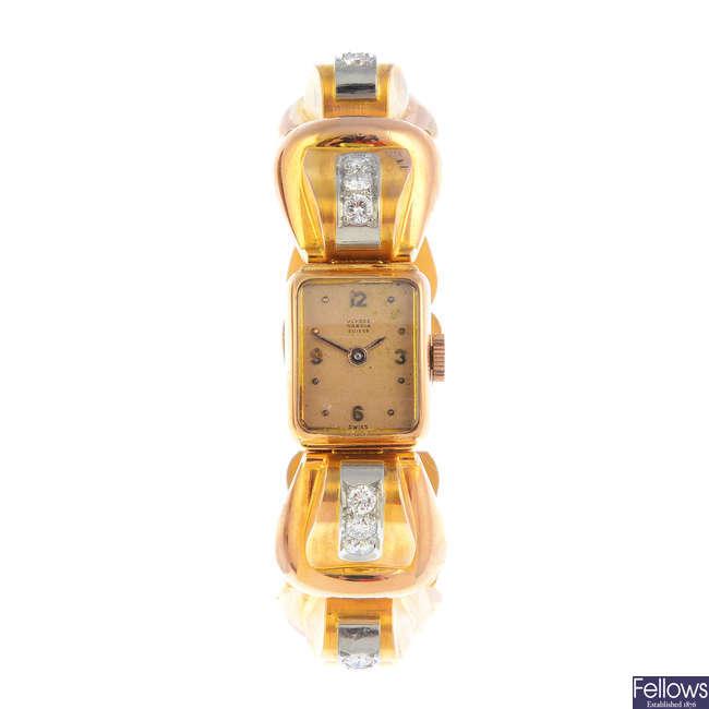 ULYSSE NARDIN - a mid 20th century diamond wrist watch.