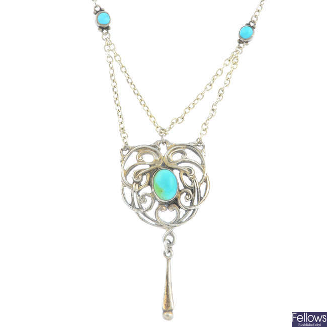 RAMSDEN & CARR - an Arts and Crafts silver turquoise necklace.