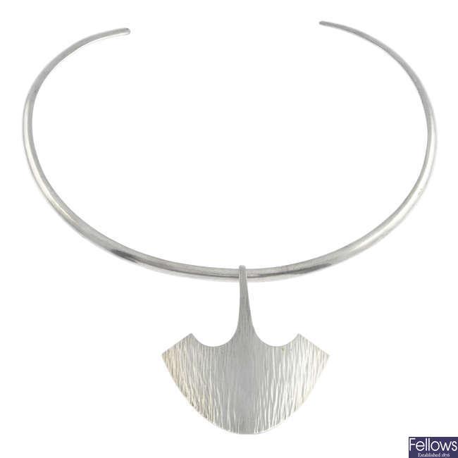 HANS HANSEN - a silver torque necklace.