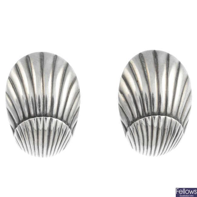 GEORG JENSEN - a pair of silver earrings, no. 90.