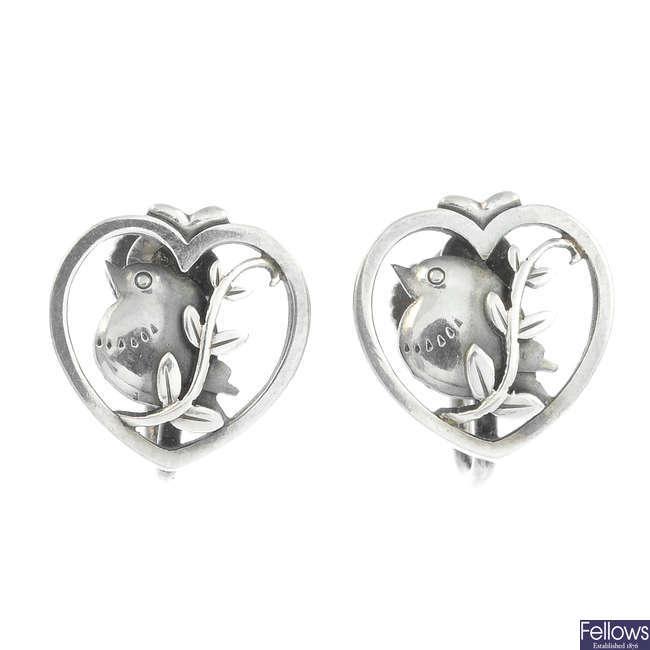 GEORG JENSEN - a pair of silver robin earrings, no. 103.